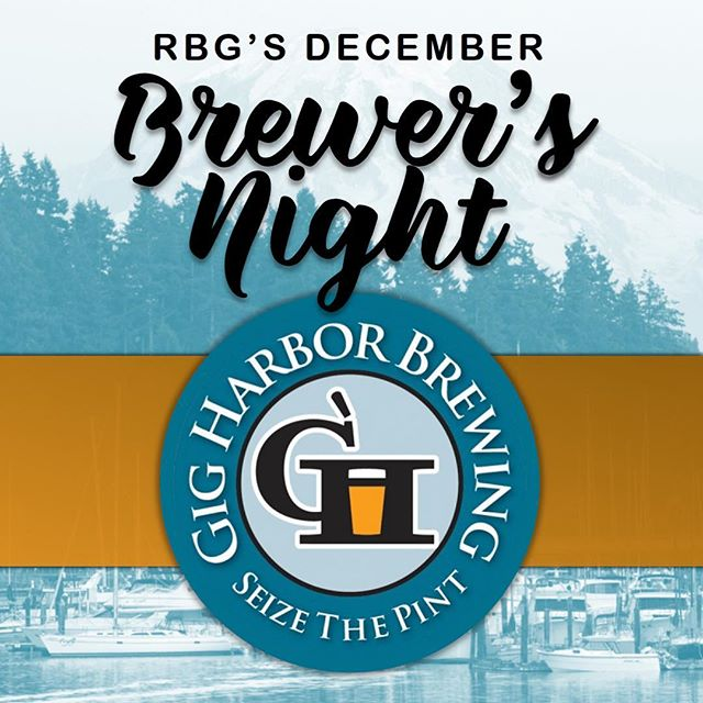Join us tonight - Thursday, December 20th for our December Brewer's Night featuring @gigharborbrew. We'll be pouring tasty beers and giving away sweet swag starting at 6:00 pm.