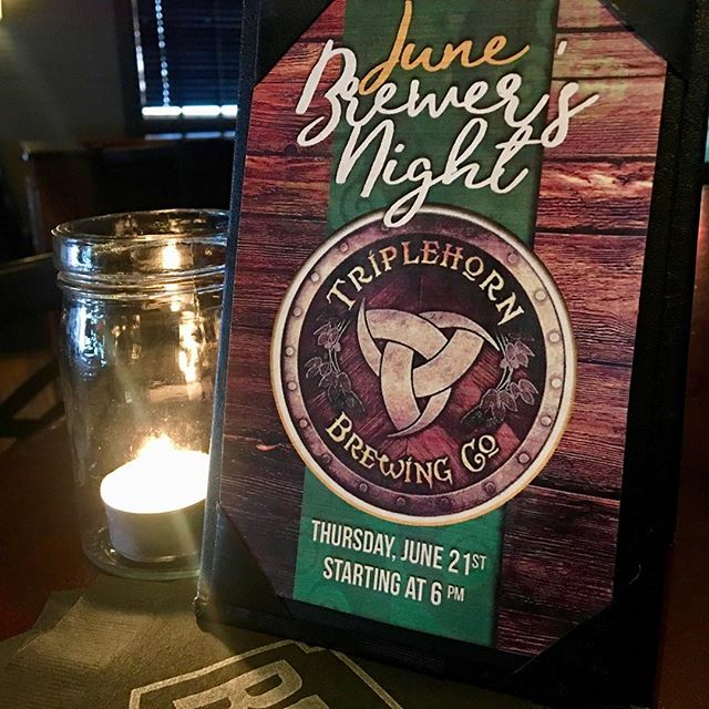 If you missed out on Brewer's Night last month, mark your calendars for 6:00 pm on Thursday, June 21st. @triplehorn_brewing will be joining us for our June Brewer's Night with tasty beer and sweet swag giveaways.