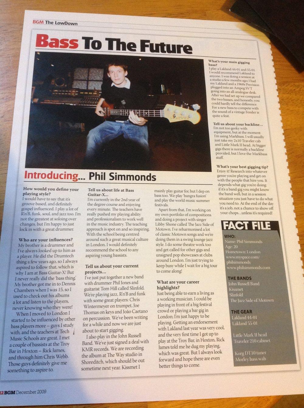 BASS GUITAR MAGAZINE DECEMBER 2009 BASS TO THE FUTURE ARTICLE.JPG