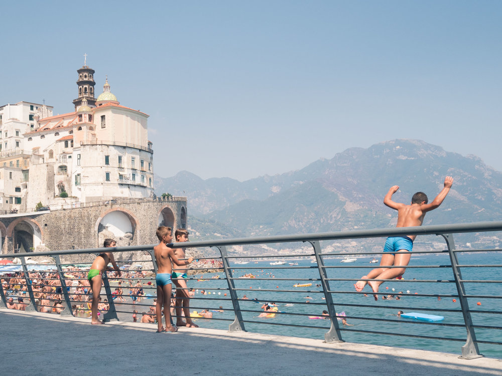 Kids playing in the city of Atrani, Amalfi Coast, Italy.