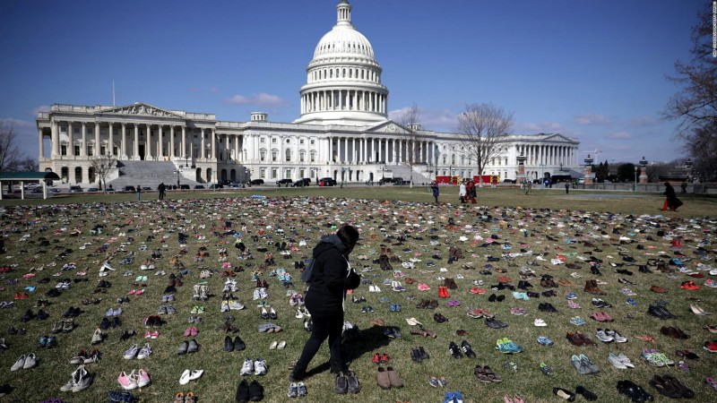 via CNN: this symbolic protest demonstrates the victims of gun violence.