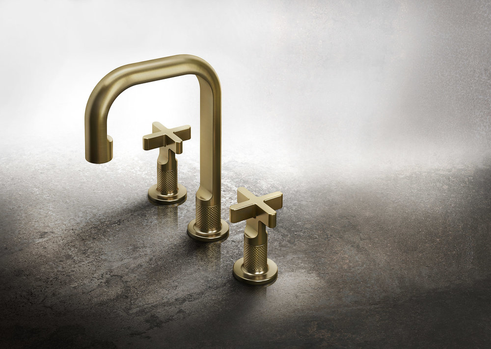 Gessi Faucet in brushed brass.