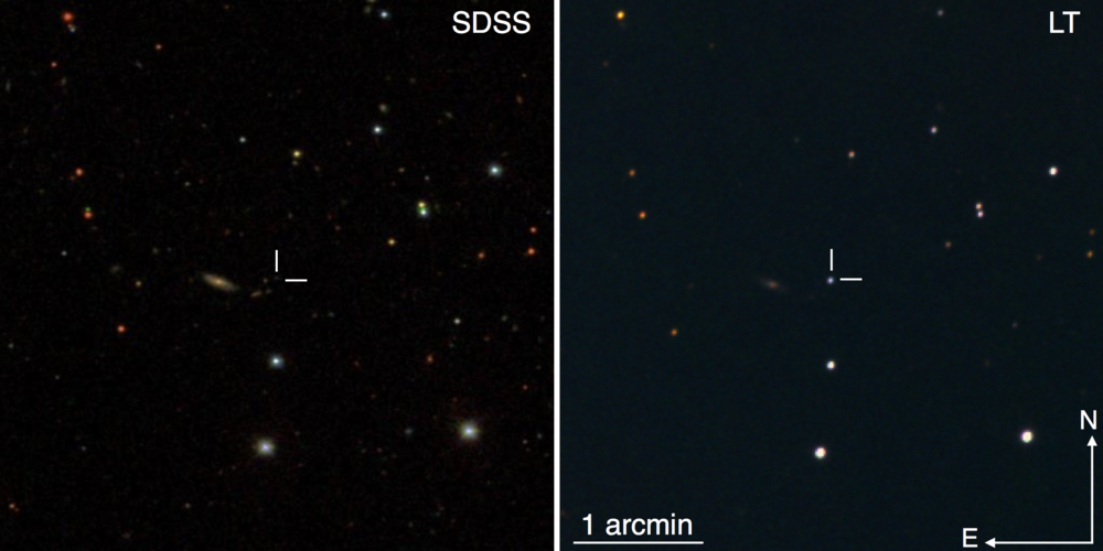 Left: archival image from SDSS of the field around SN2015bn, a superluminous supernova at z=0.11. The host galaxy (marked by crosshairs) is a faint dwarf. Right: Follow-up image from the Liverpool Telescope showing SN2015bn far outshining its host. (Credit: Nicholl et al 2016)