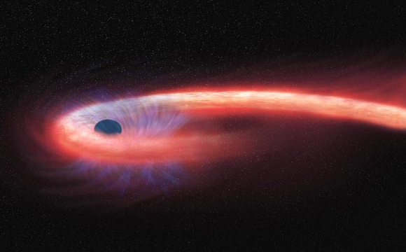 Artist's representation of a tidal disruption event (a star being torn apart by a black hole). Credit: NASA / CXC / M. Weiss.