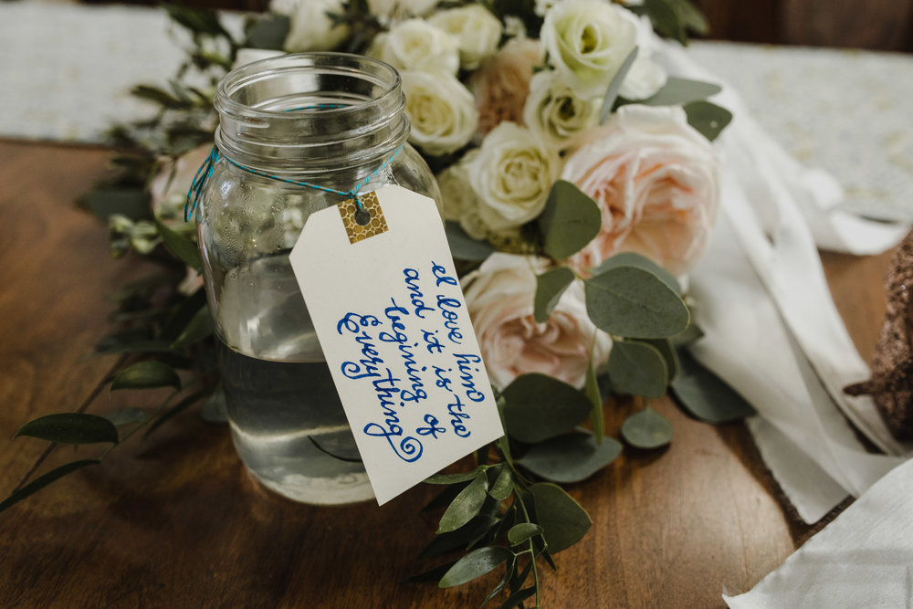 Calligraphy Tag and Wedding Bouquet