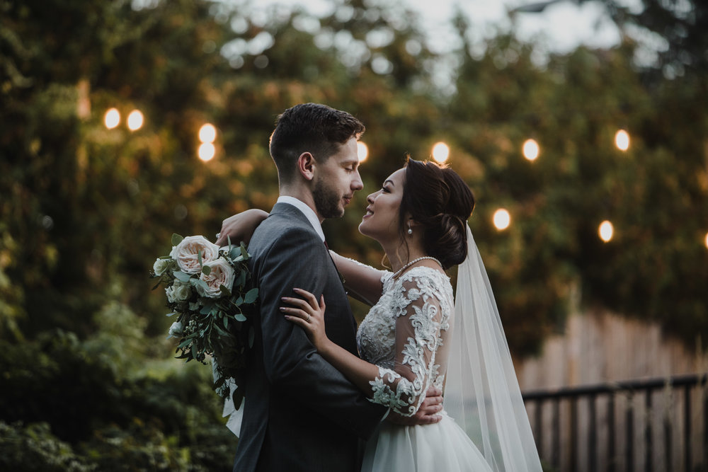 Bride and Groom and dusk