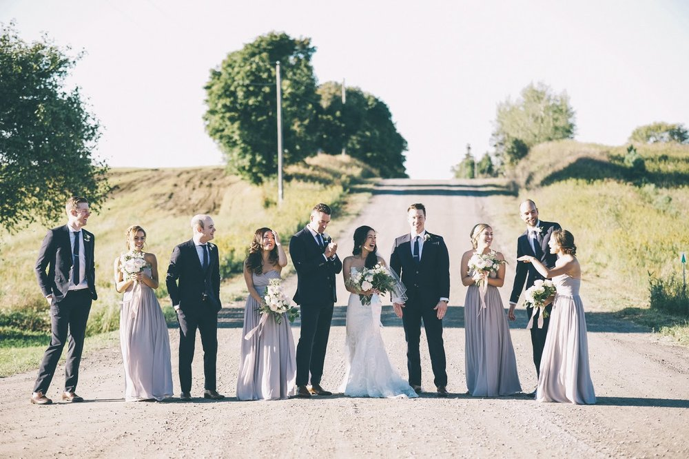 Bridal Party and Country Road