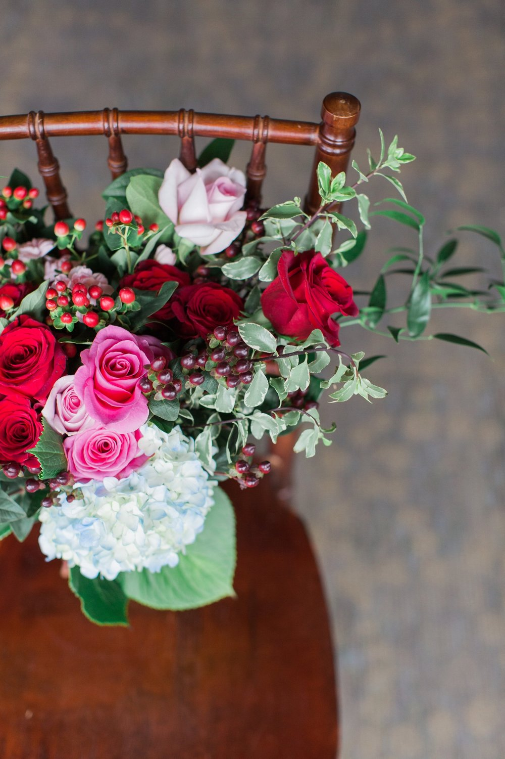 Red and Pink Bride's Bouquet