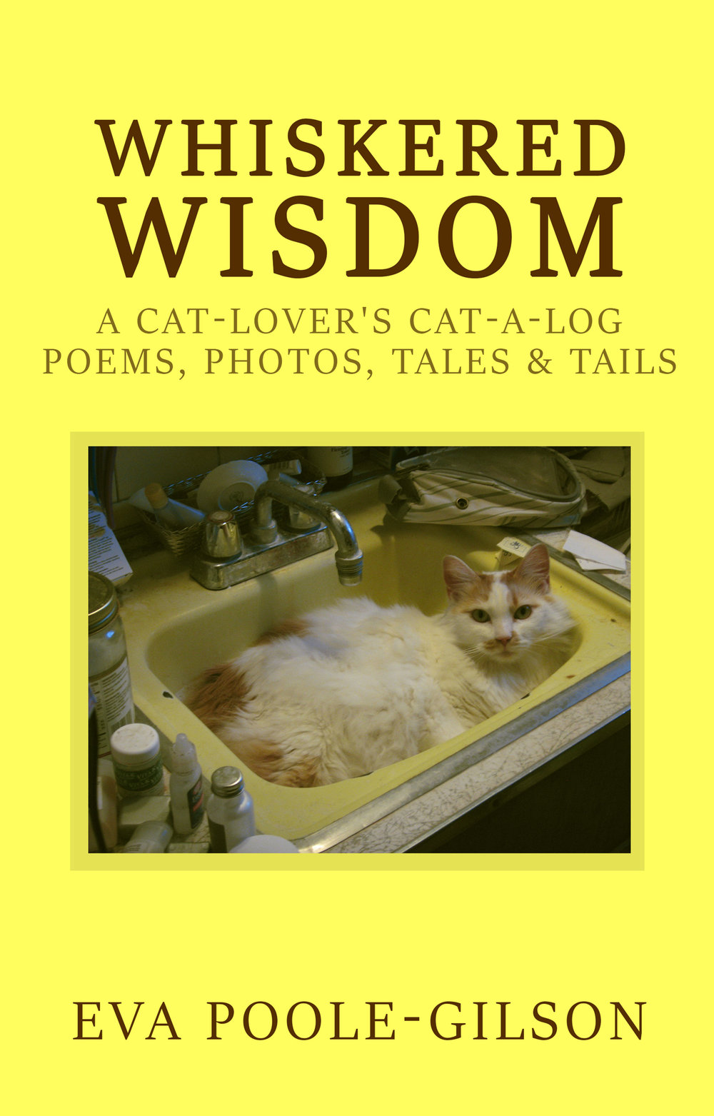 "Whiskered Wisdom - FELINE SAGES! Stories, poems, and photos of the cats who've shared the author's life—delightfully FAT with LOVE & WISDOM. A people-friendly translation of their magnificent Meowese and Body Language! Whiskered Wisdom will:➤ Introduce you to precocious Mr. Edison who invents and coaches games at age 8 weeks> Entertain you with Isadora, a little prima donna dancer;➤ Awaken your childhood imagination with the tale of a basement band of cat drummers;➤ Make you laugh and cry over the cats who've touched your life & influenced your philosophy;➤ Enchant you with Shasta's story (dumpster baby, abandoned and adopted uncounted times);➤ Help you get through the loss of a pet (too adventurous or too ill to stay any longer);➤ Slyly suggest you create a word-picture treasury of your own purrfurred, feathered, or finned family;➤ Encourage even greater love for your cats, for all cats, for all pets, for all animals;➤ Cherish the world even more because cats are in it!""The pages of Whiskered Wisdom are filled with the closest to unconditional love I have ever felt…so connected to the feeling we all yearn for…it even embraces the difficult and painful phases in life…."" – Sacha""Peaches is one Beautiful Cat… Those eyes! Omg! Wow!"" – Rusty Kavendek""You have such a gift for putting my feline's attitude into words. You must me a ""mom"" to a cat…otherwise you would not know the attributes of their 'royal highnesses'!""– Rita Ginocchio"