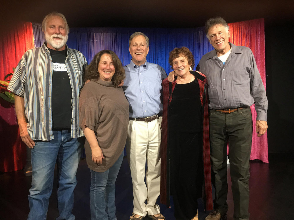 (Left to right:) Carne Lowgren, Shira Dubrovner, California Poet Laureate Dana Gioia, Eva Poole-Gilson, and Chris Olander, May 15, 2018 at the Edison Theatre in Mammoth Lakes, Calif.