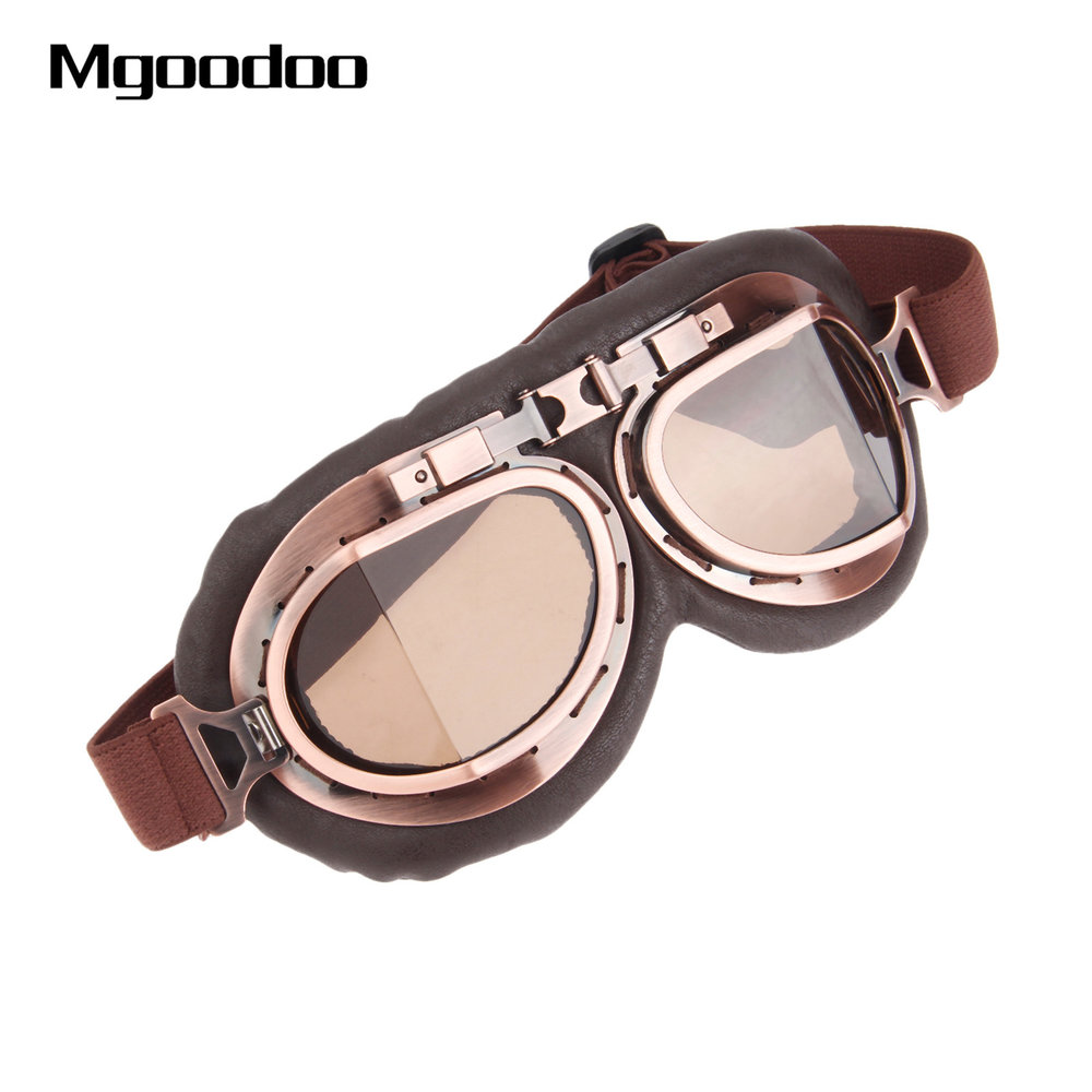 ba1b5caa0 Motorcycle Goggles Glasses Vintage Motocross Classic Goggles Retro Aviator  Pilot Cruiser Steampunk ATV Bike UV Protection Copper (MBG-02)