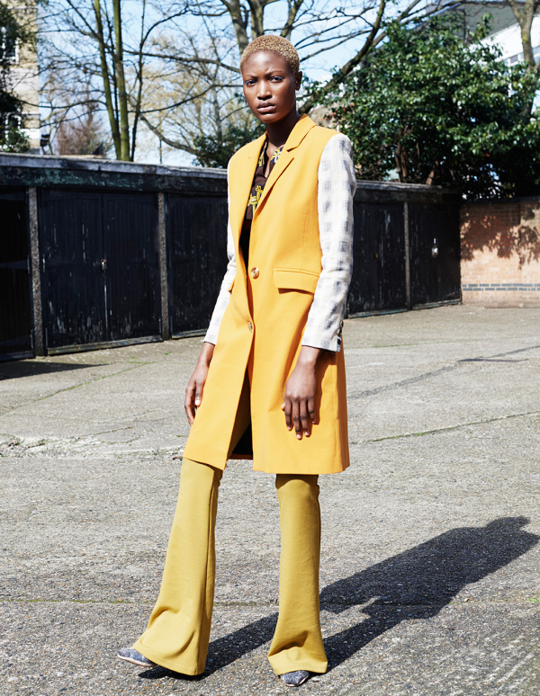 Coat - Charlotte Zimbehl / Top - Ann-Celeste London / Trousers - M-SEW / Shoes - stylist's own
