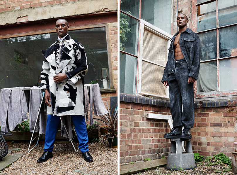 Left: Coat: Tolu Coker / Right: Jacket and trousers: Ka Wa Key, Shoes: Ka Wa Key x Underground