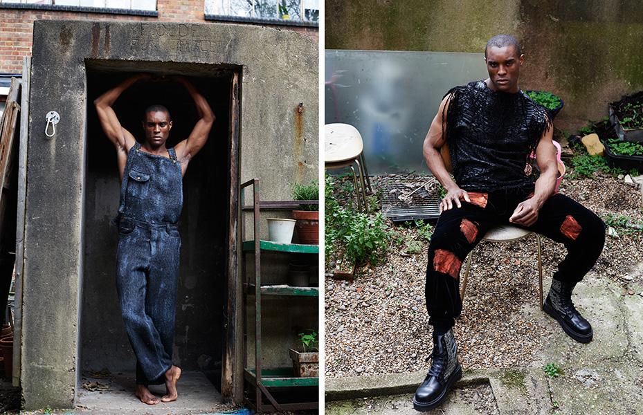 Left: Dungarees: Ka Wa Key / Right: Top:: Ka Wa Key, Trousers: A M Atkison, Shoes: Ka Wa Key x Underground