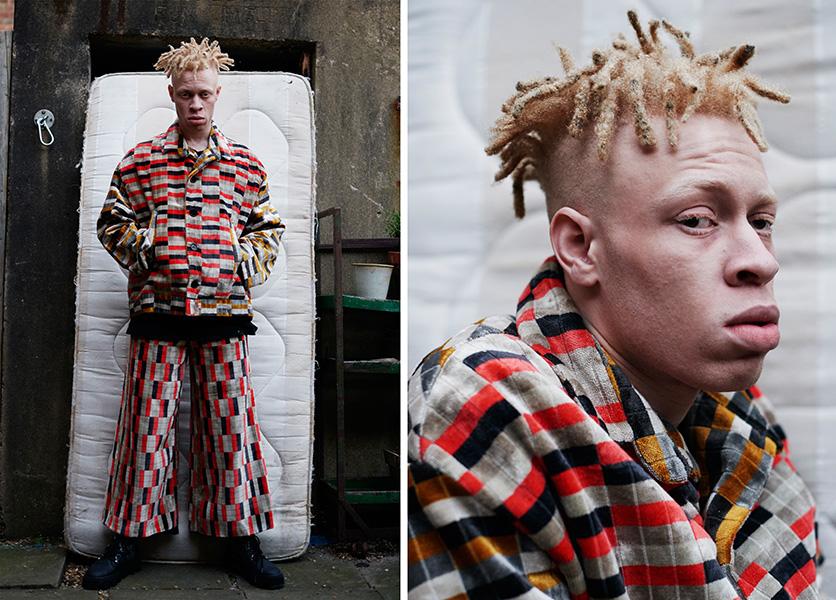 Jacket and trousers: A M Atkinson, Shoes: Ka Wa Key x Underground