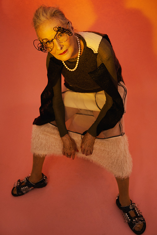 Skirt, Shoes + Glasses: Longshaw ward / Top & Vest : Verity Germer
