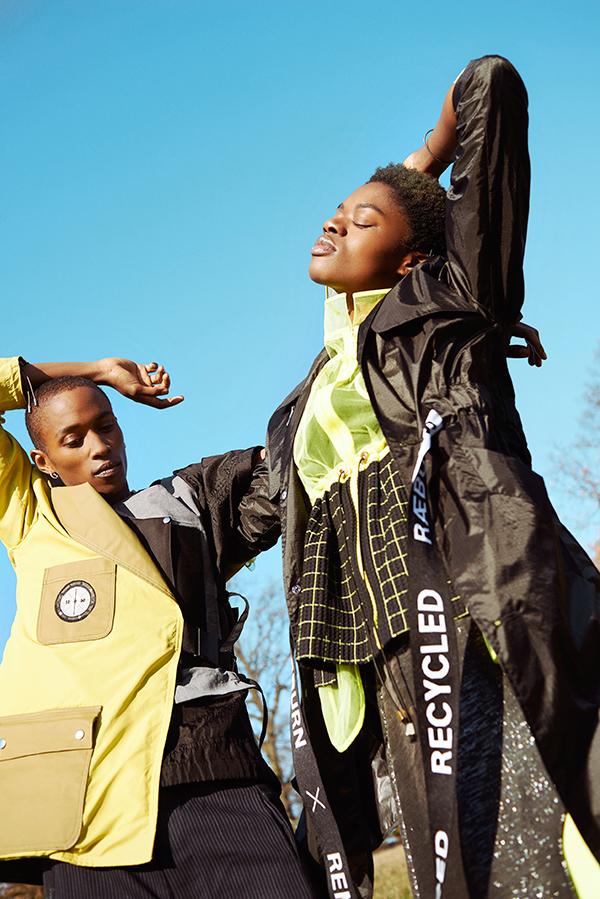 Estelle - Coat: Christopher Raeburn from Exposure / Jacket & skirt: Longshaw Ward Jewellery: Mira Sadi Jewels. Shami: Blazer & vest: Playground / Shorts: Playground / Shami's T-shirt worn underneath: Christopher Raeburn.