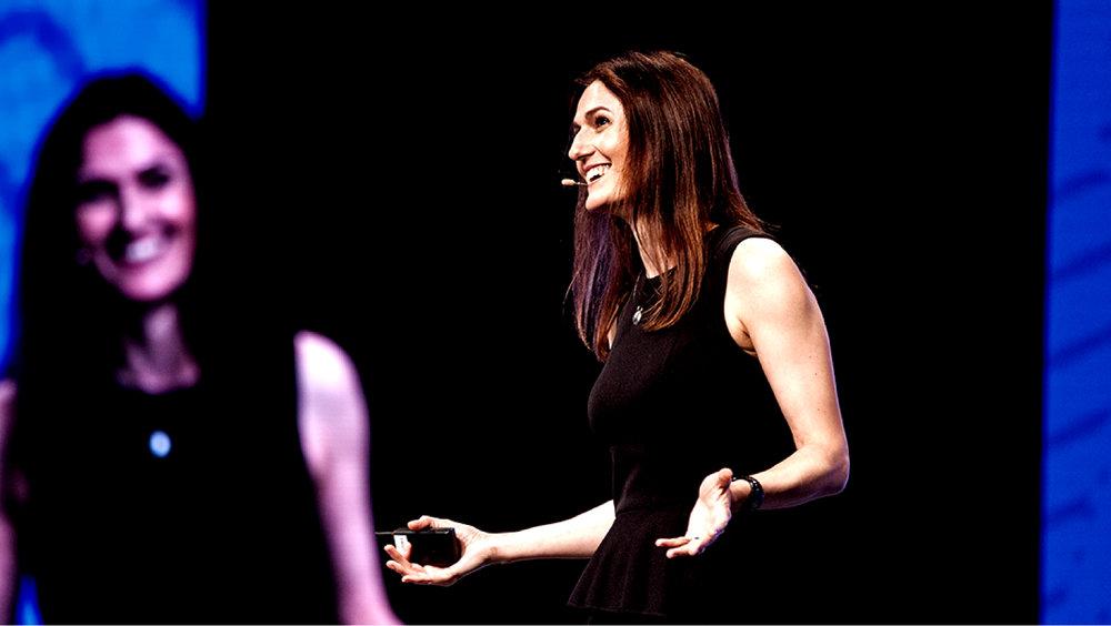 Caroline Webb speaking to an audience