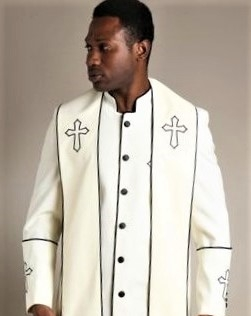 fa6bec662f On Time Fashions--Mens Cream Black Clergy Robe With Matching Stole