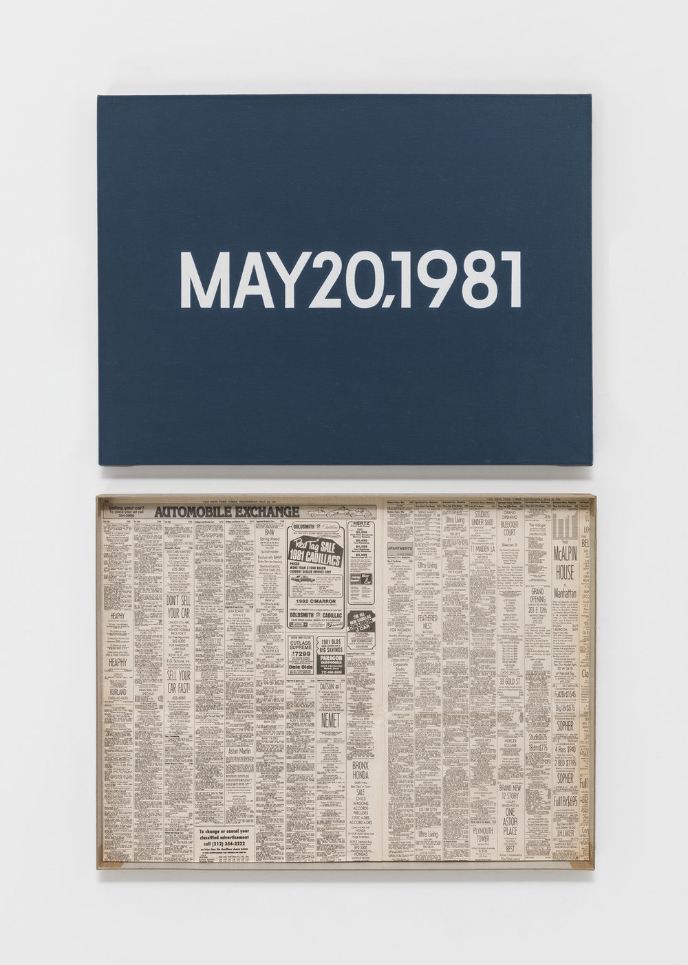 """MAY 20, 1981 (""""Wednesday"""") , On Kawara Private Collection, 1981"""