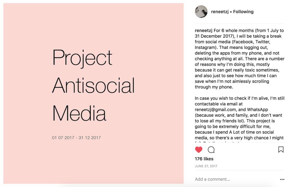 Project Antisocial Media , Renée Ting 2017