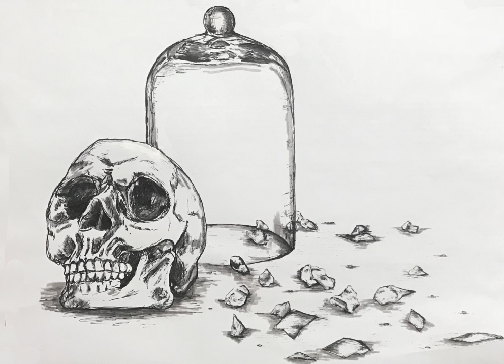 Skulls, Bell Jar and Broken Glass Drawing by  Nicolette Teo