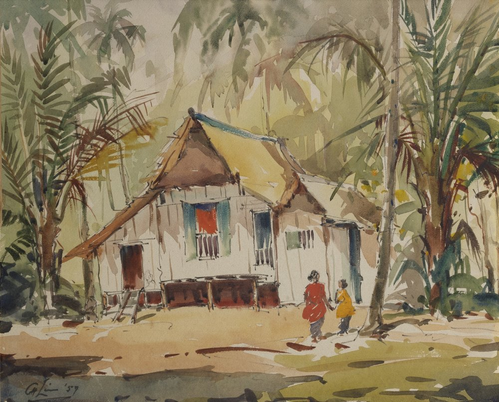 [Not titled] (Kampong House with Two Figures) , Lim Cheng Hoe National Gallery Singapore, 1957  Credit: National Gallery Singapore, Collection of Fermin Diez and Su-Yen Wong, © Family of Lim Cheng Hoe