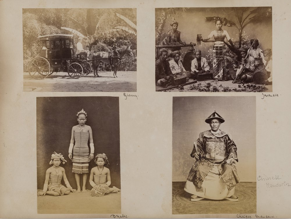 Album leaf with five photographs including Cheang Hong Lim  ,  G.R. Lambert & Co. Peranakan Museum  Credit: The Peranakan Museum, Gift of Mr and Mrs Lee Kip Lee