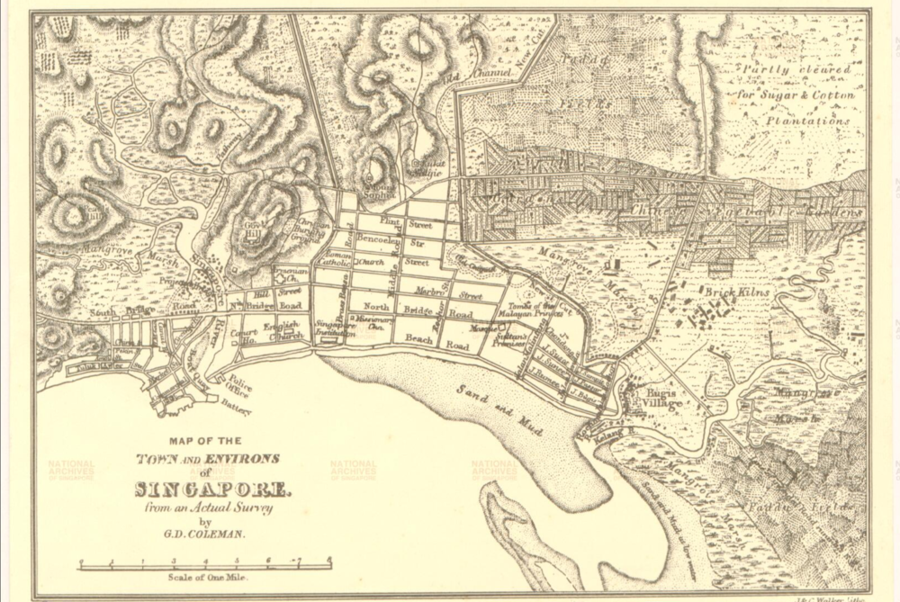 Map of the Town and Environs of Singapore,  G.D. Coleman National Archives of Singapore, 1839
