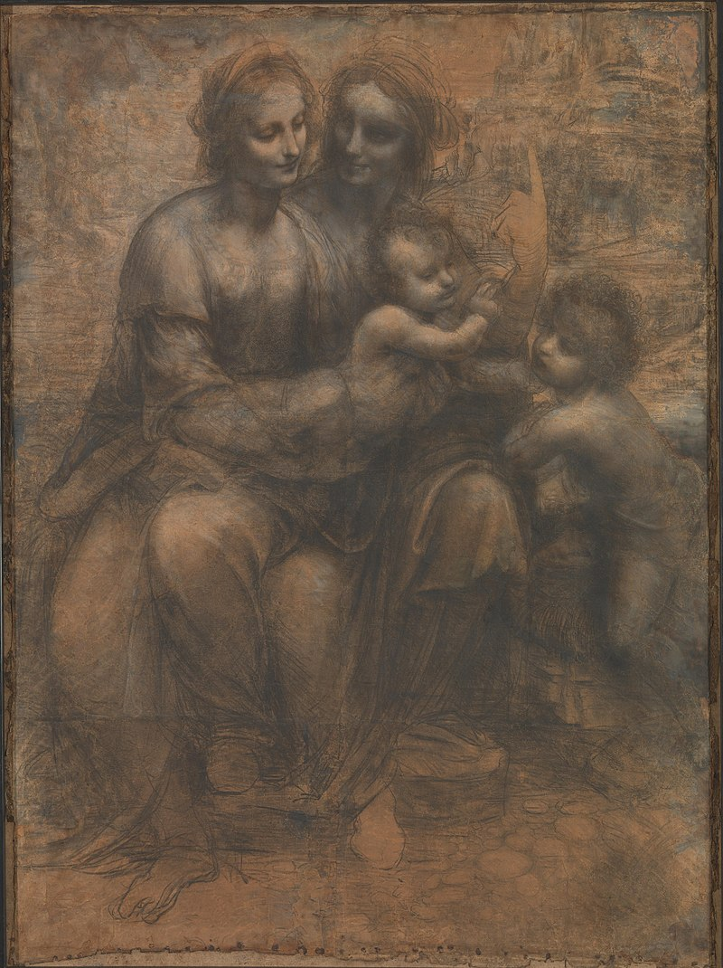 The Virgin and Child with St. Anne and John the Baptist ,   Leonardo da Vinci National Gallery London, c. 1499–1500 or c. 1506–8