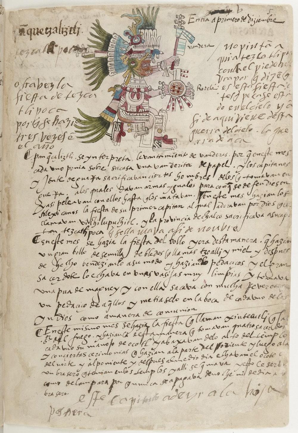 Huītzilōpōchtli in  Codex Telleriano-Remensis  Bibliothèque nationale de France, c. 16th-century