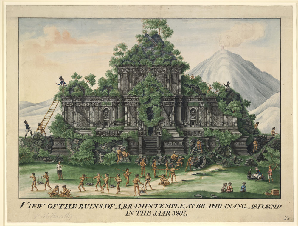 Fanciful view of Candi Sewu being cleared by Javans under direction from Europeans  Java, 1807  Credit: British Museum