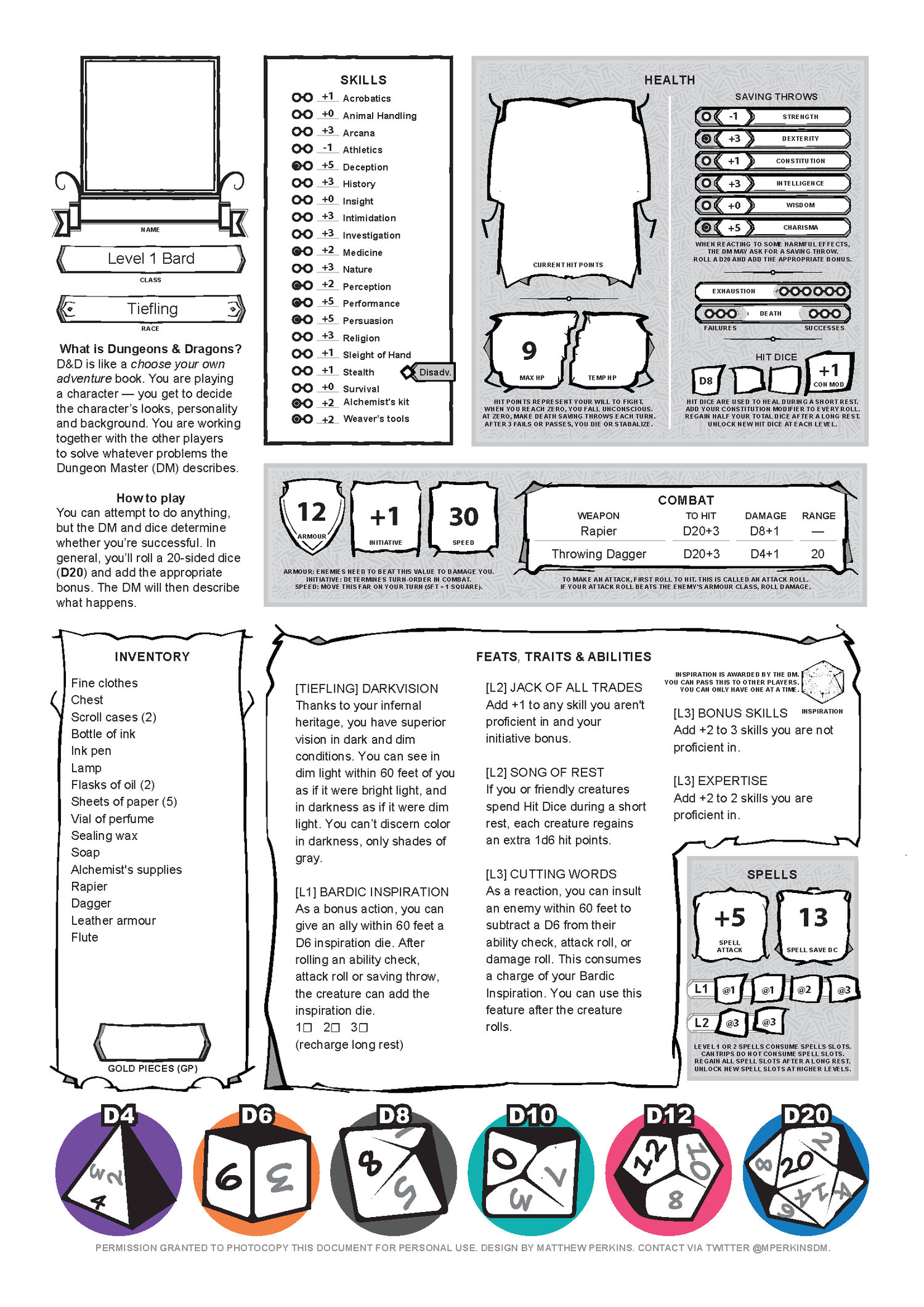 Character Sheets: Lessons in Learning — Matthew Perkins
