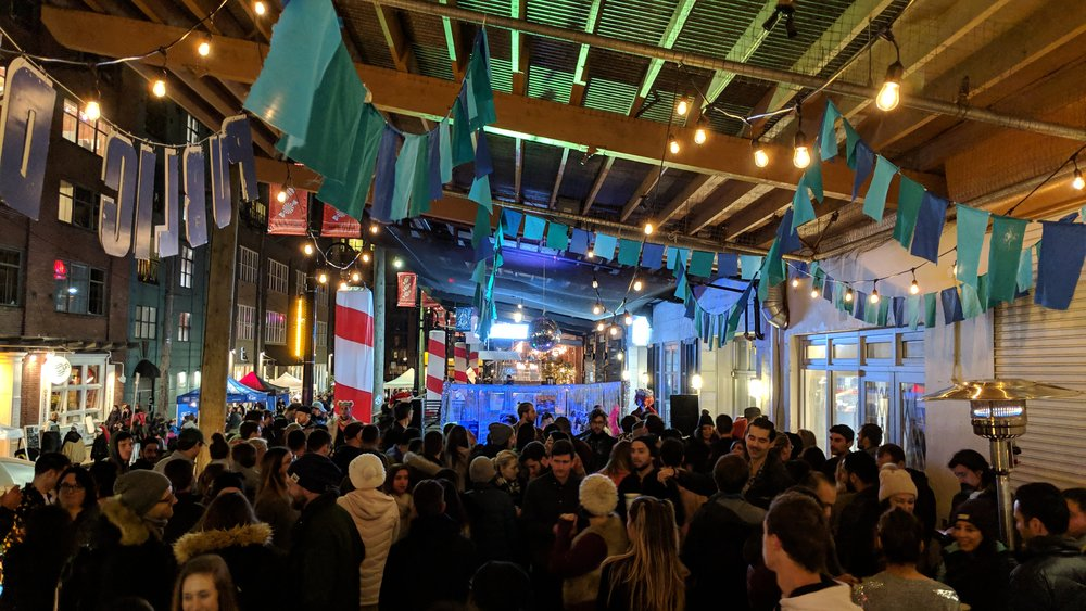 Hamilton street patio - We partnered with the Yaletown BIA to add some new energy to their annual Candytown Festival. An empty patio space on Hamilton Street made for the perfect covered dance-floor.