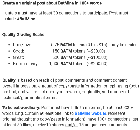 Sample bounty from BatMine. Applicants are to write an original LinkedIn post about BatMine in 100 words or more.   ( Source :  Bounty0x )
