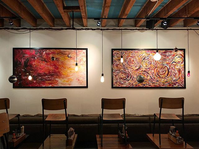 So happy with the way this turned out - such a great space to showcase my work! Thanks @meetonmain for allowing me to fill your walls! 🎨 . . . . . . . . #art #artist #artgram #instaart #instaartist #paint #painter #painting #acrylicpainting #abstractart #abstract #colourful #fingerpainting #vancouver #vancouverartist #vacouverpainter #yvr #vancity #canada #canadaartist