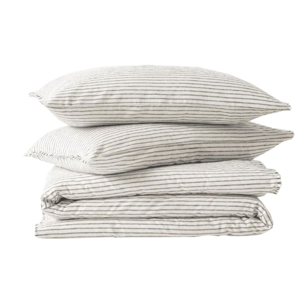 Chambray Vintage Stripe Quilt Cover - Dove   AURA HOME