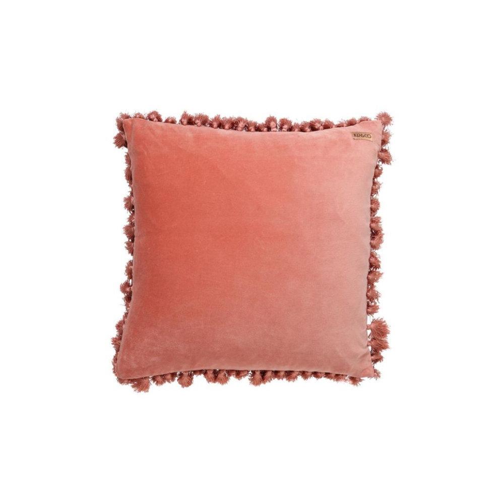 Smokey Pink Velvet Tassel Cushion Cover   THE FAMILY LOVE TREE