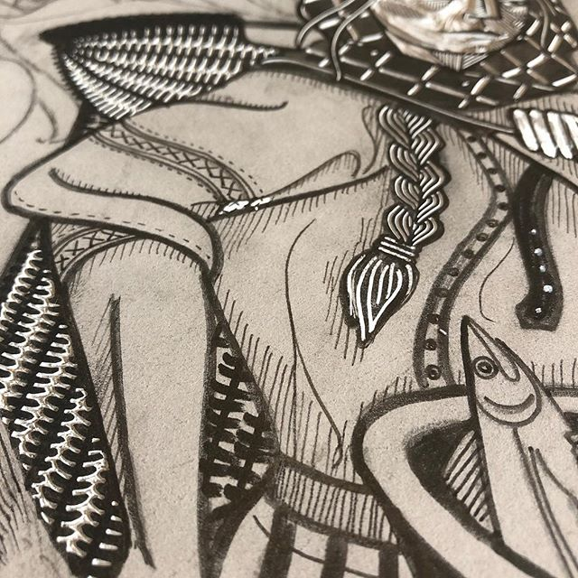 """Day 5 of #marchmeetthemaker and today's topic is """"Detail or Close Up"""". Hooray! This is my 'thing'! . I love details. The more ridiculously fiddly, the better. I like textures, and patterns, and things-within-things. I like to hide stuff in my prints that you might not notice at first glance (hands up who else loved Where's Wally as a kid?!) and any blank space is just asking for another snippet of story to sneak in. It hasn't been entirely intentional, but I've started to develop a little library of motifs that creep into lots of my prints - braids and knitted things, nature and nautical motifs... It's a bit like leaving little messages in my own secret code... 👀🔎 . . . #printmaking #printmaker #linocut #linoprint #blockprint #reliefprint #ukprintmakers #printmakersofinstagram #heytheremaker #get_imprinted #fishwives #scottishart #folkart #indierollercoaster #craftsposure #meetthemaker #mystudiotoday #printstudio #ukartist #indiebusiness #handmadebusiness #shopsmall #handcarvedstamp #workinprogress"""