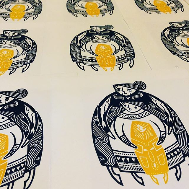 Yesterday's printings, drying away. I ran out of space on the rack - that's a good day's work by my reckoning 👵👩👧🐋 . . . #printmaking #printmaker #linocut #linoprint #reliefprint #ukprintmakers #printmakersofinstagram #printstagram #printstudio #handmadeart #peopleofprint #handmadeprint #printsforkids #homedecor #affordableart #ukartist #uketsyseller #ukartist #indierollercoaster #shoplocal #shopsmall #shophandmade #mothers #daughters #generations #russiandolls #mothersdaygifts