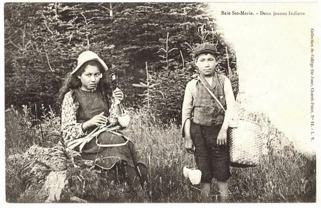 A printed postcard of two Mi'kmaq children from Baie Ste-Marie, Nova Scotia. Circa 1910