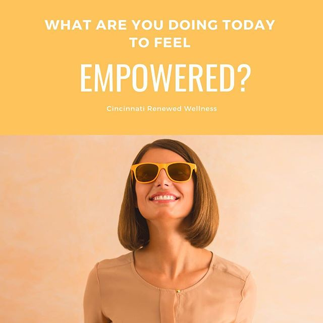 """At Cincinnati Renewed Wellness, I [Allie] use the word EMPOWERED, a lot. My mission is to ensure that all of my clients feel empowered at the end of each session. 💛  What does feeling EMPOWERED mean? """"make (someone) stronger and more confident, especially in controlling their life and claiming their rights."""" Merriam Webster, 2011. 💪🏼 . . I always close my sessions with asking, """"What are you going to do for YOU this week?"""" This isn't a question about what tasks they will accomplish at work or home. It's a question to generate thoughts about how they will put themselves first. What will they do to return love and care to themselves? A self care mindset is an EMPOWERED mindset. Once you start returning love and care to yourself, you start to recognize your value and the importance of putting yourself first, before being able to lift others.  Reclaim your power. Magical things can happen. 💫 . . . #empowerment #empoweredwomenempowerwomen #selfcare #love #wellness #mentalhealth #cincinnati"""