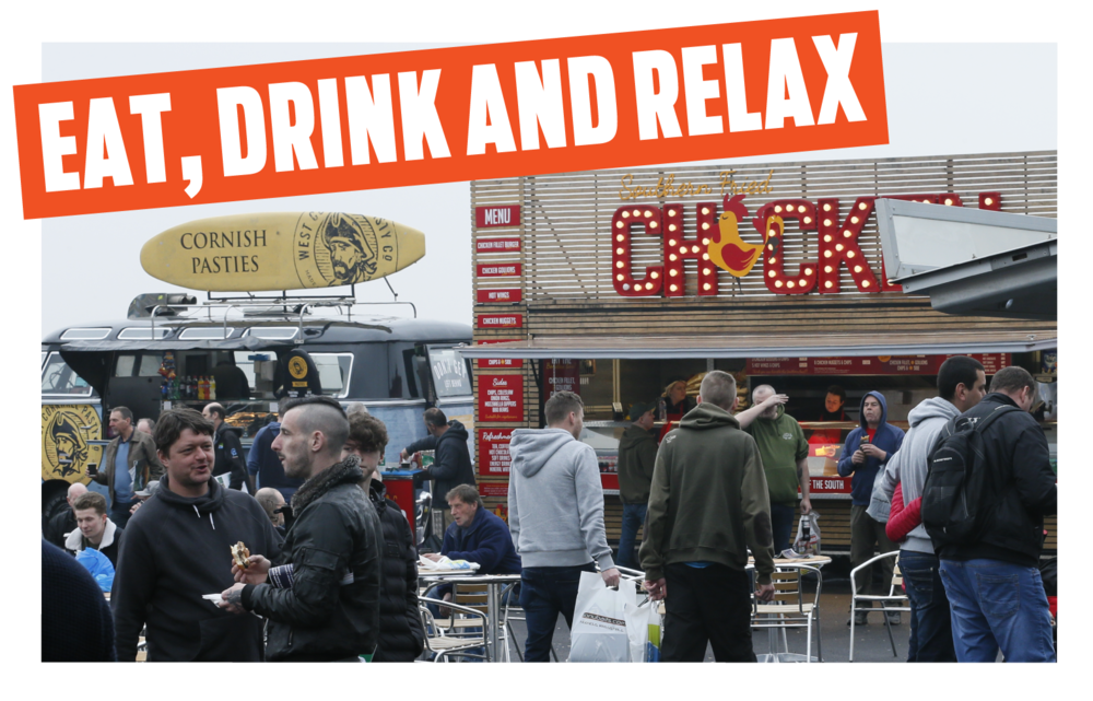 EAT, DRINK AND RELAX   There are loads of opportunities to refuel at The Big One with expanded catering facilities offering food and drink for all appetites and tastes.  Chill out with your friends in the comfortable indoor catering areas and enjoy everything from burgers to butties and plenty of hot food and drink options at realistic prices. Outside you'll find a selection of food vans where you're guaranteed to get your hands on something which hits the spot. Open all day.