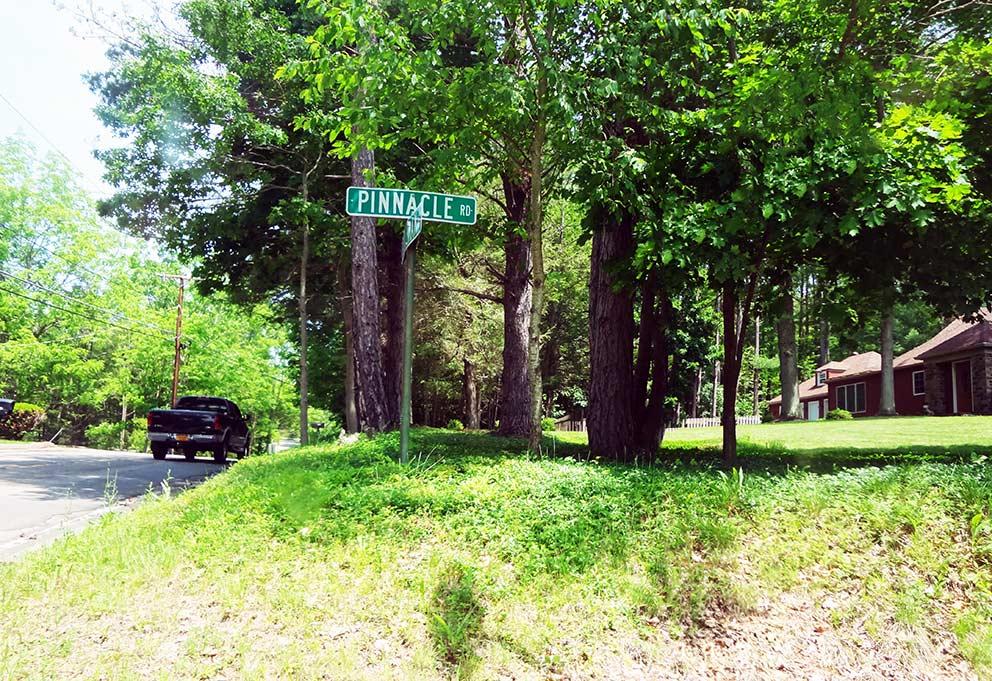 - Die Pinnacle Road in Elmira. An dieser Straße kauften sich Jane und Rob ihr Hügel-Haus, in dem sie von 1975 an lebten.