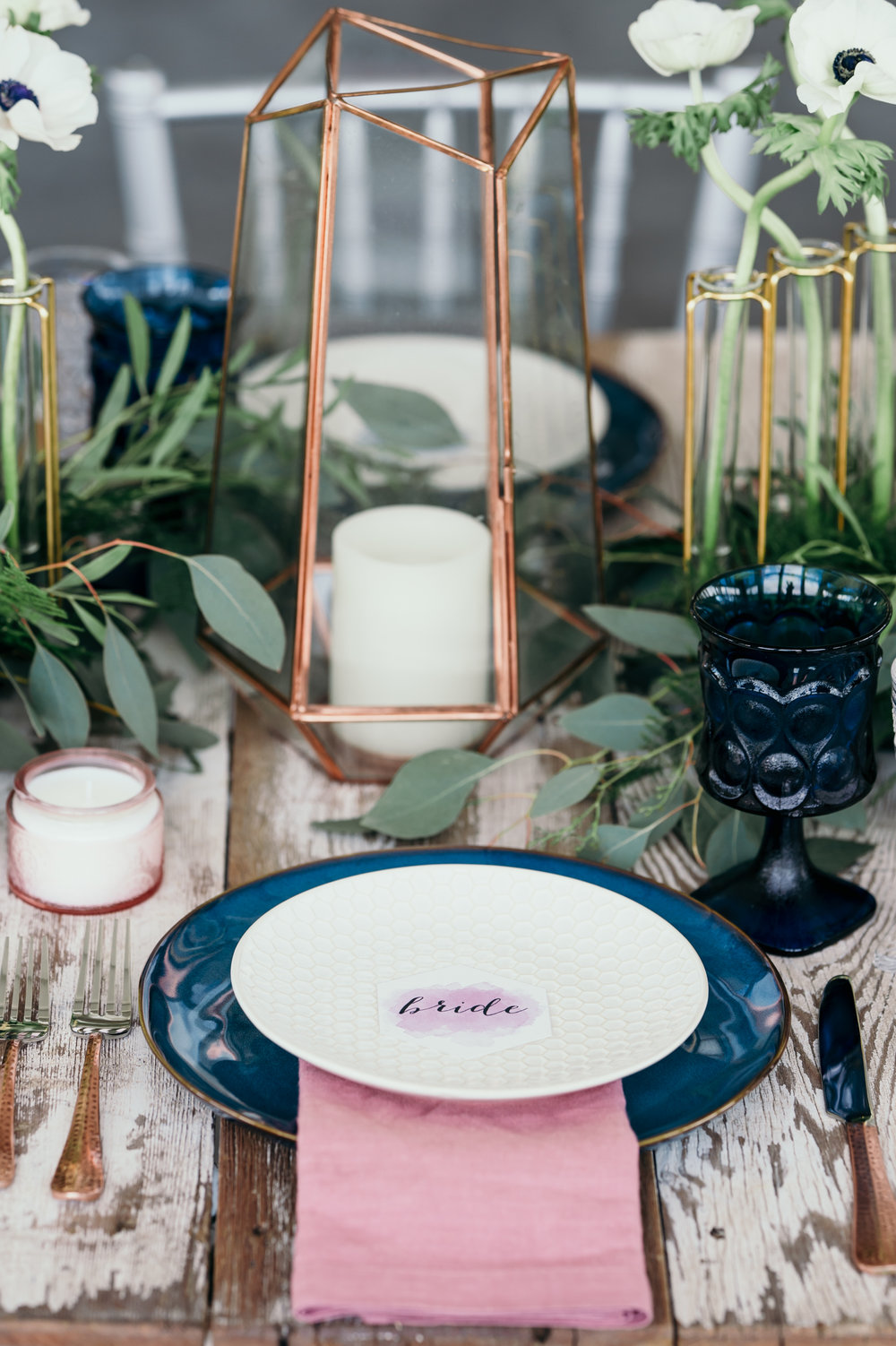 Romantic Jewel Tone Wedding - Navy + Mauve color palette with a brush of modern bride