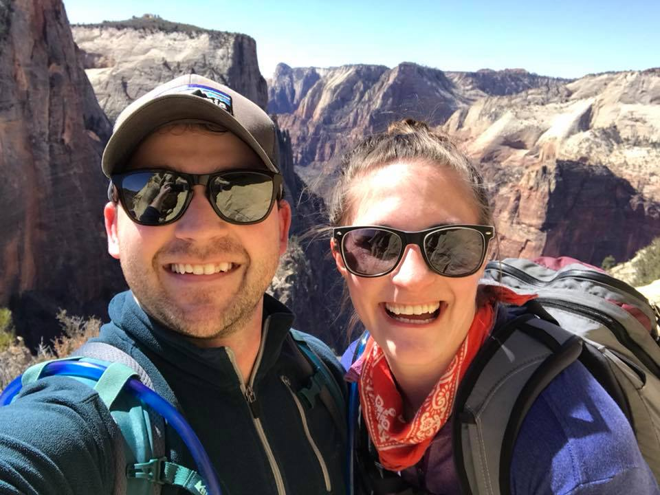 March 2018. The 8 mile Observation Point Trail was our FAVORITE and the obvious choice to get away from Angel's Landing, the treacherous, life ending, snake infested trail that all the other dummies fell for (see what I did there?). For real though, this was the best hike we've been on.