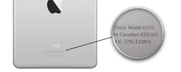 Apple iPad model number close up