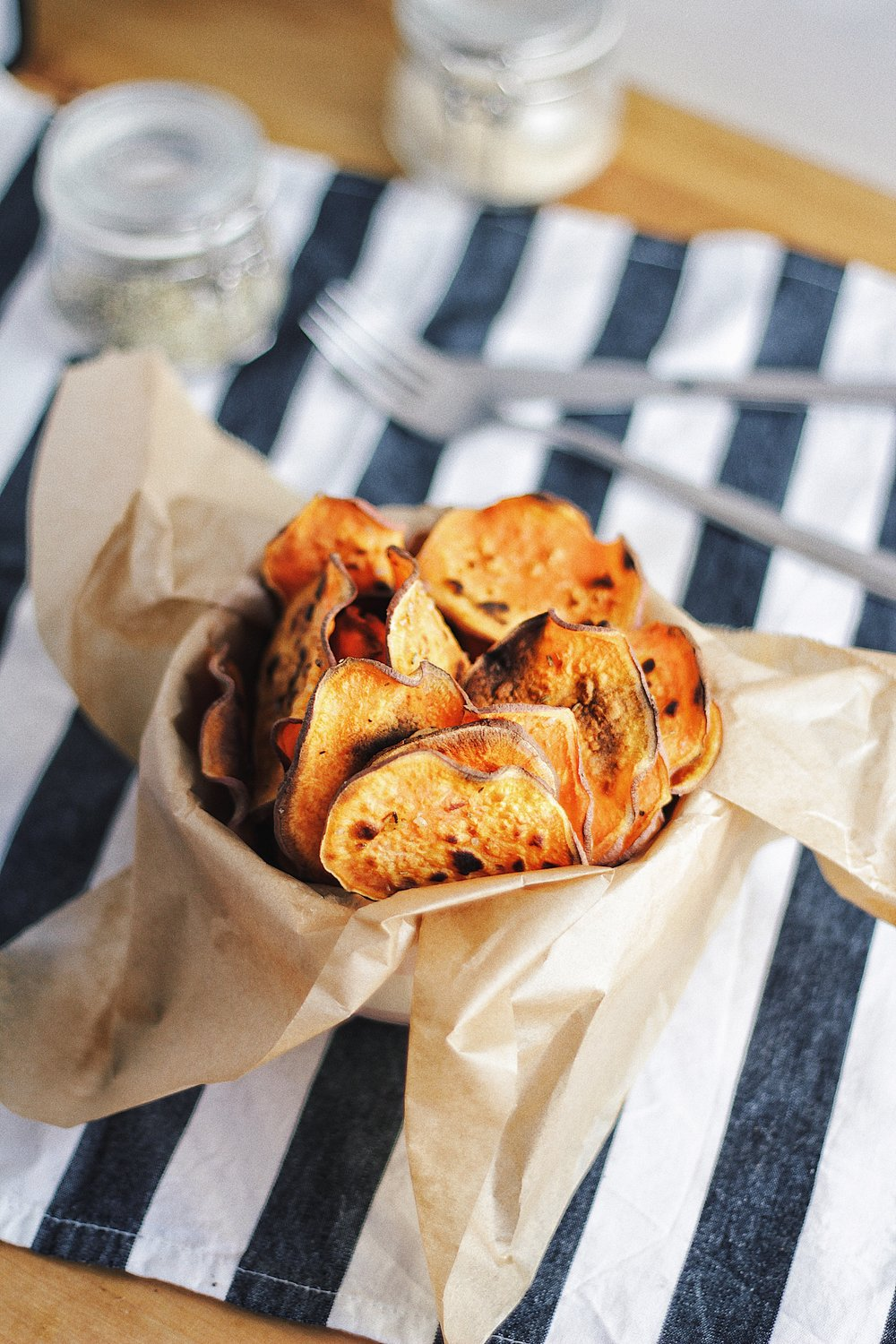 Healthy Baked Sweet Potato Chips - with Rosemary - Recipe - Grain-free, Gluten-free and Sugar-free - Low Carb, Paleo and Keto - Fit Chick Bakery