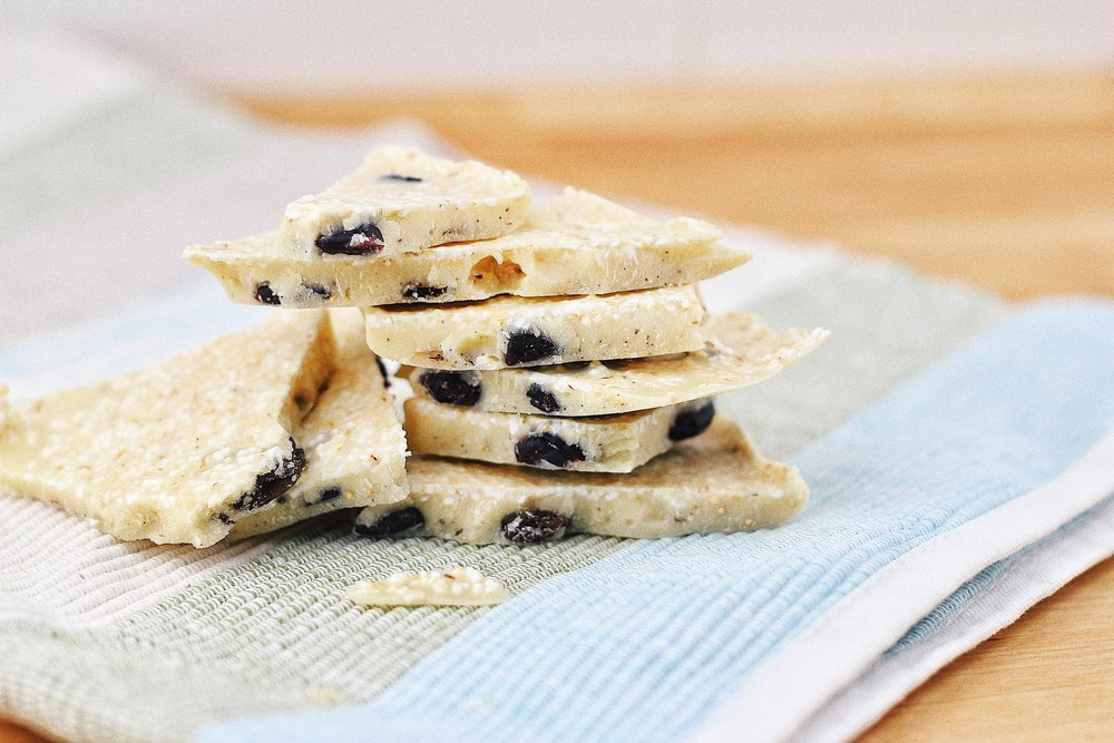Sugar Free White Chocolate with Amaranth & Cranberries - Recipe - Grain-free, Gluten-free and Sugar-free - Low Carb, Paleo and Keto - Fit Chick Bakery