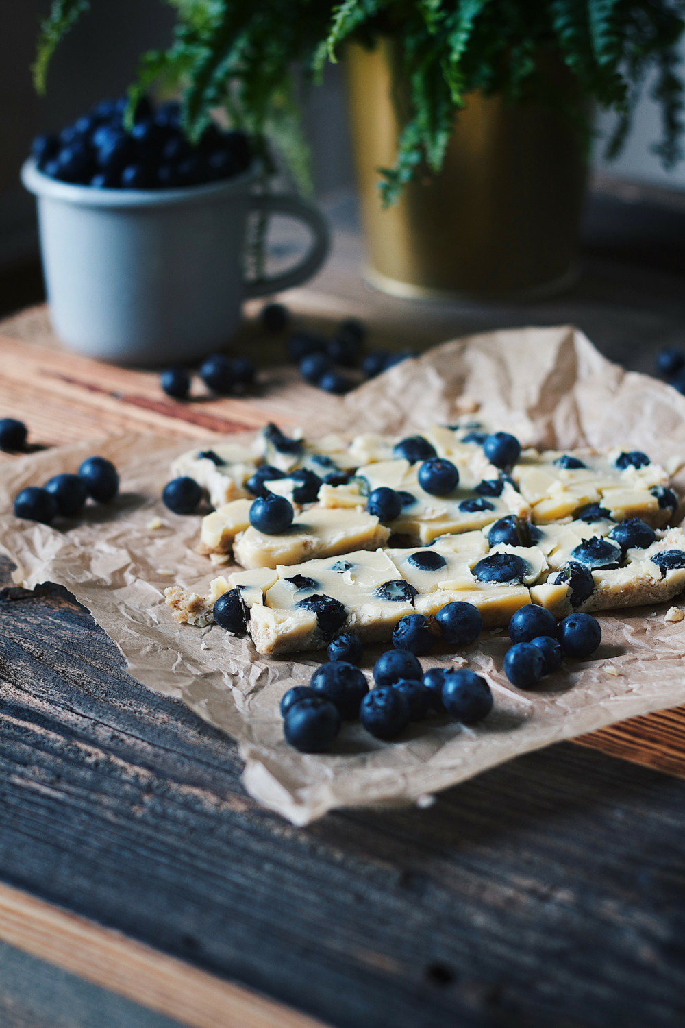 Homemade White Chocolate with Blueberries - sweetened with Dates - Recipe - Grain-free, Gluten-free and Sugar-free - Low Carb, Paleo and Keto - Fit Chick Bakery